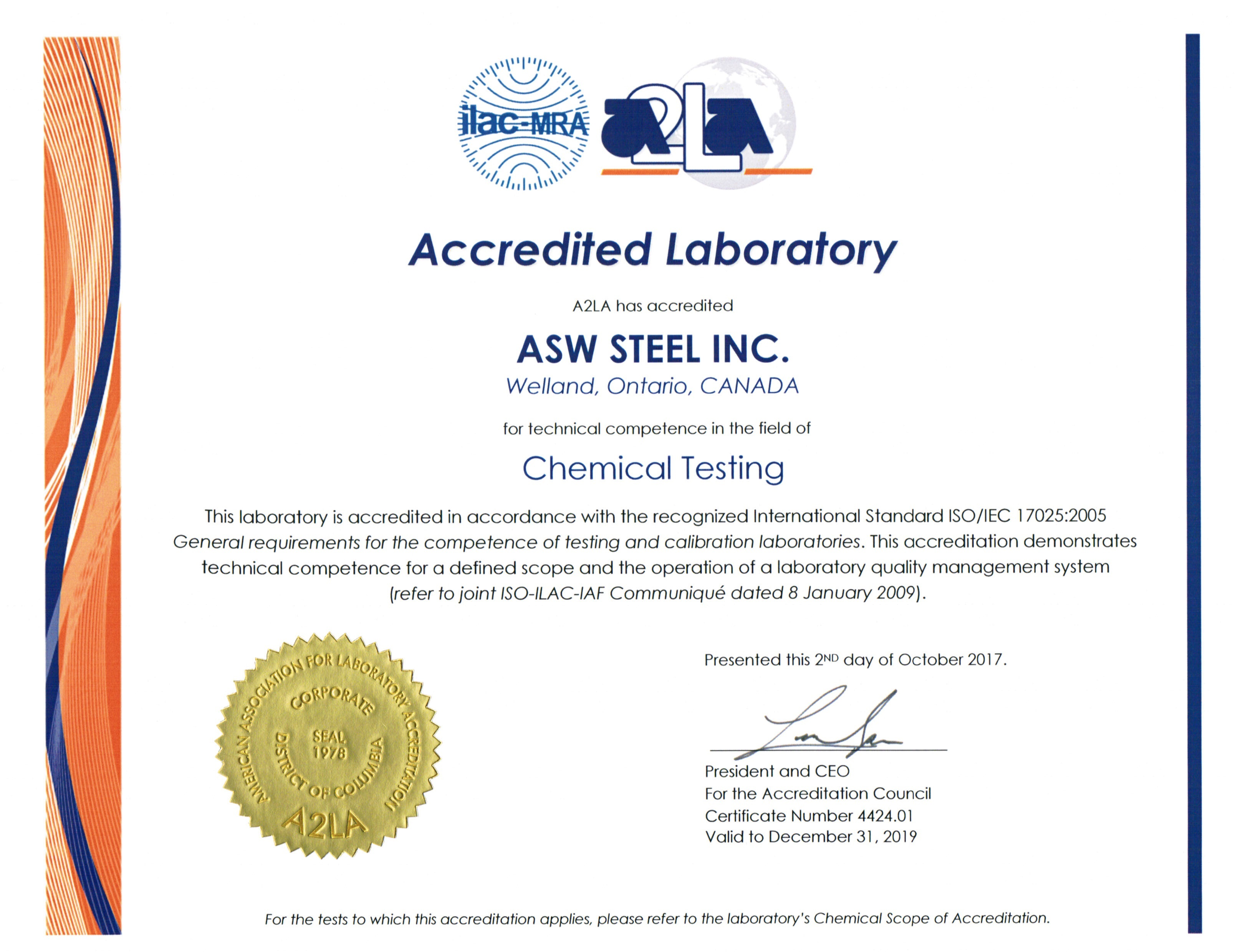A2LA Certificate of registration for Chemical testing ISO17025 : 2005