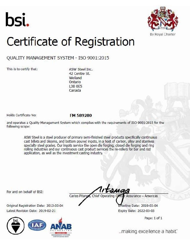 BSI Certificate of registration for quality management system ISO 9001:2008